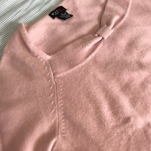 Sweaters - Pink cashmere 3/4 length sleeve bow sweater